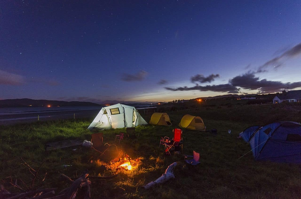 Camping with instant popup tents