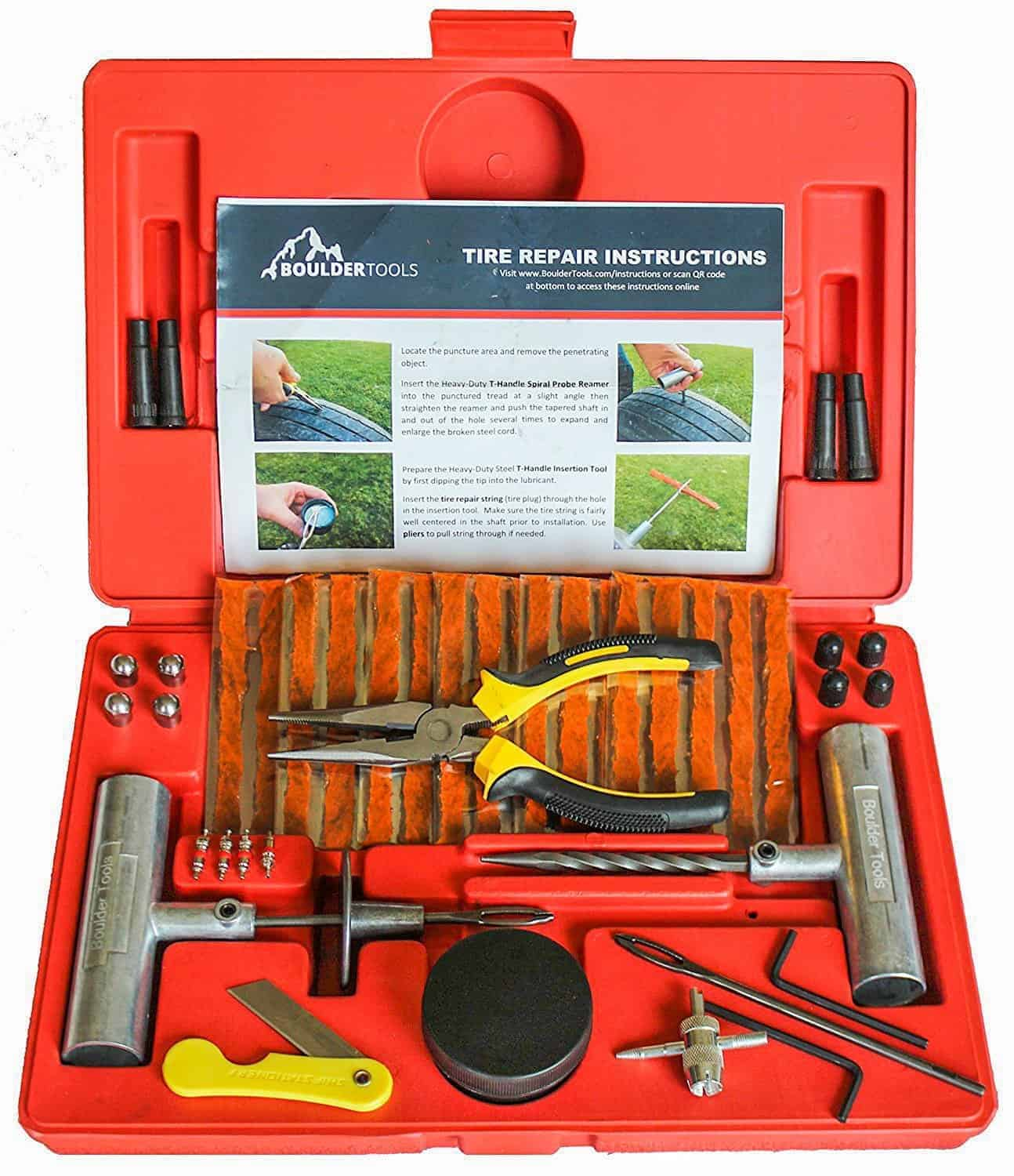 Boulder Tools - 56 Pc Heavy Duty Flat Tire Puncture Repair Kit