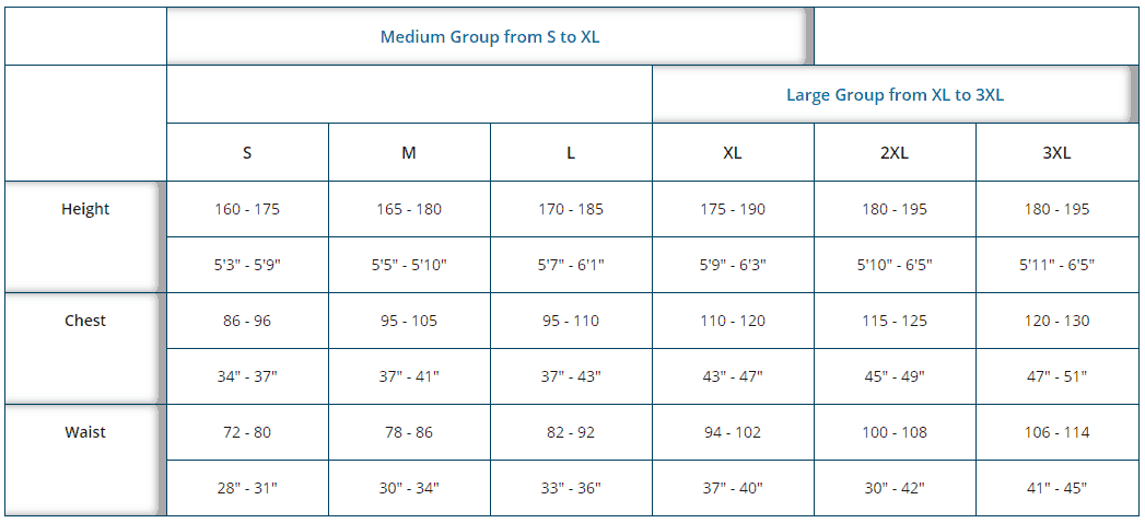 Hit-Air Airbag Vests and Jackets size chart