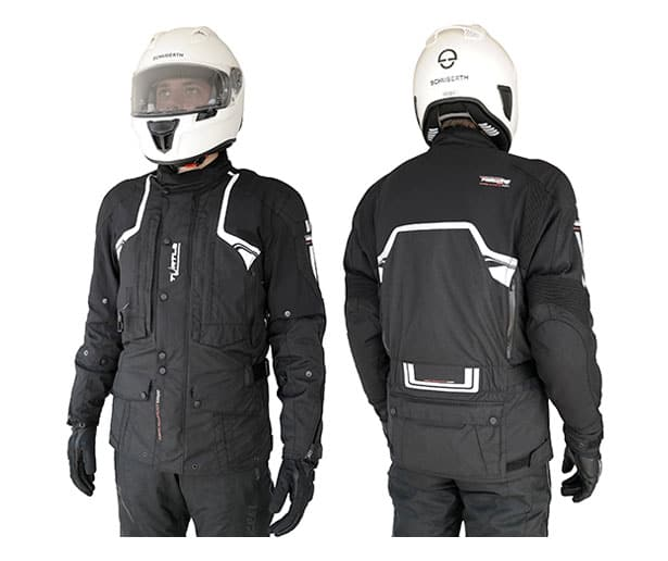 Helite Adventure Airbag Jacket in Black front and back
