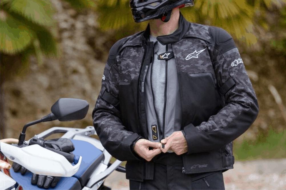Alpinestars Tech-Air Airbag Vest under Alphinestars Motorcycle Jacket